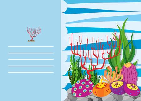 reef: Paper design with coral reef illustration Illustration