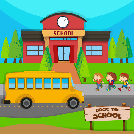sign road: Children and school bus at school illustration Illustration