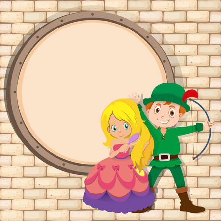 border picture: Border design with hunter and princess illustration