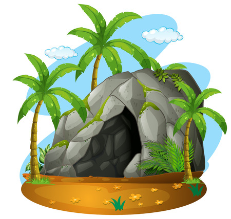 cloud clipart: Nature scene with cave and coconut trees illustration