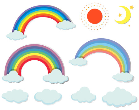 sun clipart: Different kind of nature elements illustration Illustration