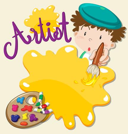 Artista tenendo il pennello e la piastra di illustrazione