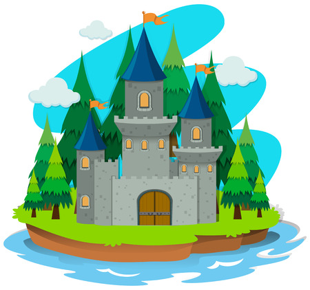 accomodation: Castle building on the island illustration Illustration