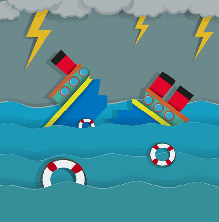 shipwreck: Thunderstorm and shipwreck in the ocean illustration