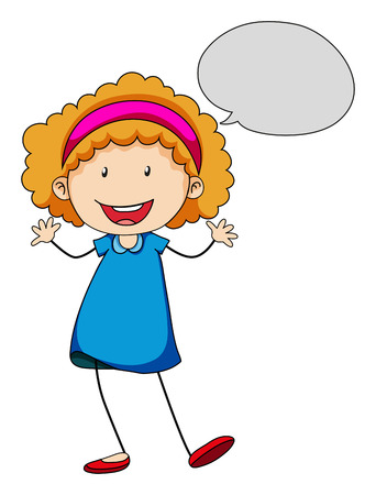 child drawing: Little girl with bubble speech illustration