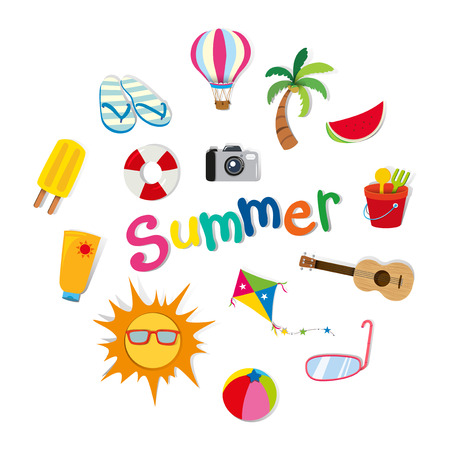 summer clipart: Summer theme with food and objects illustration
