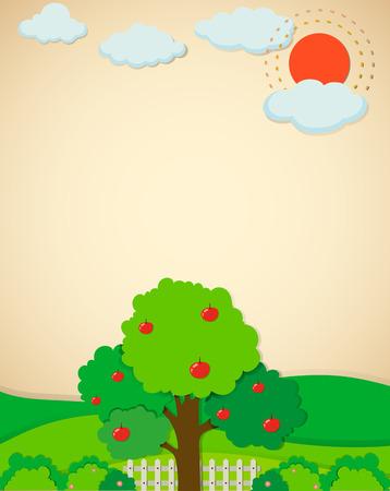 apple orchard: Apple trees in the garden illustration Illustration
