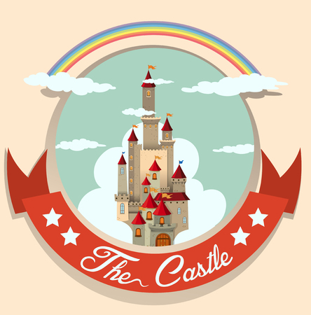 tall: Logo design with castle and rainbow illustration