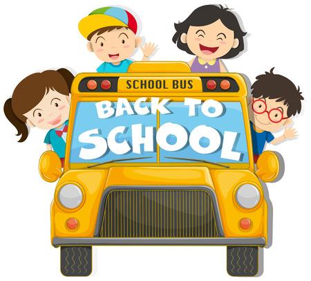 child school: Children riding on the school bus illustration