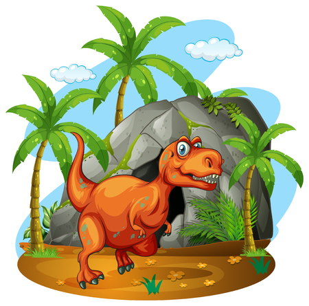herbivorous: Dinosaur standing in front of a cave illustration