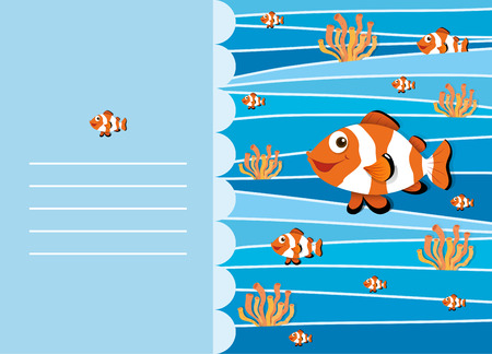 clownfish: Paper design with clownfish swimming illustration
