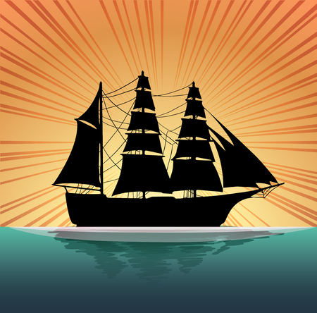 fishing boats: Silhouette sailboat on the sea illustration Illustration