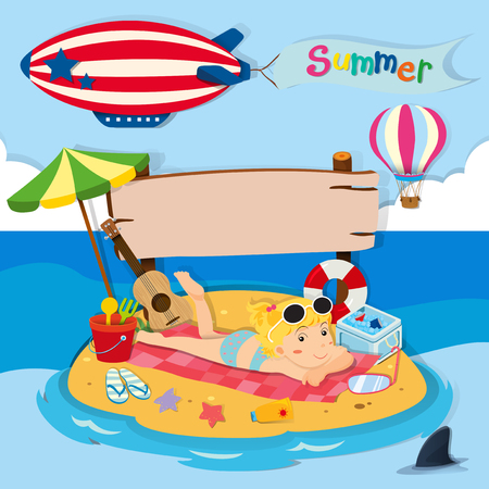 beach toys: Summer holiday on the beach illustration