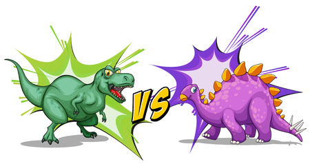 each: Two dinosaurs fighting each other illustration