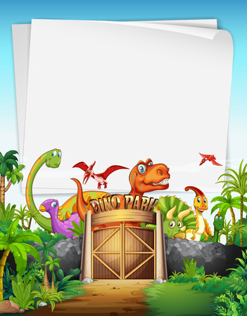 Border design with dinosaur at the park illustration Illustration
