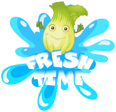cara de alegria: Fresh lettuce with happy face illustration Vectores