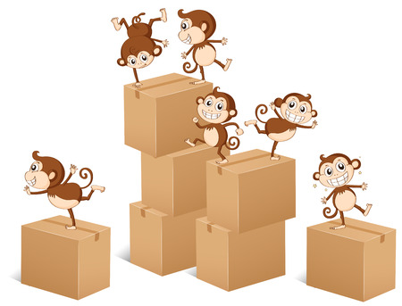 funny pictures: Monkeys climbing up the boxes illustration