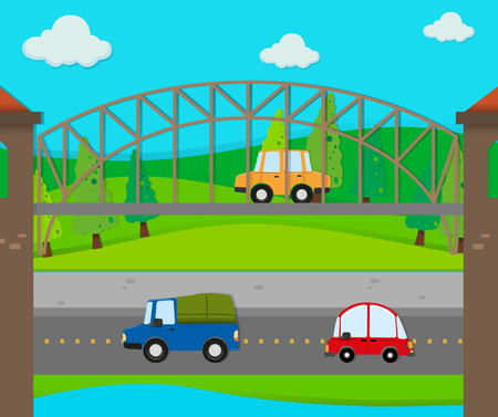 cars on road: Cars riding on the road illustration