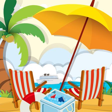 cadeira: Cena da praia com cadeiras e guarda-chuva ilustra Ilustração