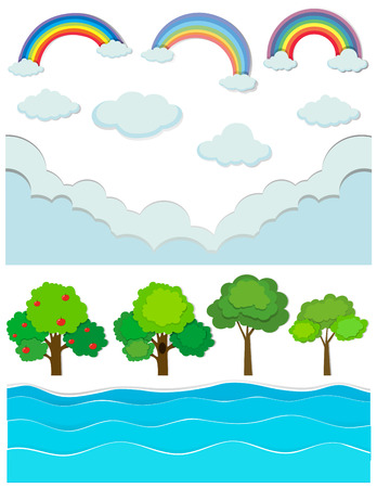 rainbow scene: Nature scene with rainbow and river illustration Illustration