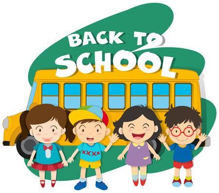 autobus escolar: Volver a la escuela tema con los ni�os y la ilustraci�n de autobuses