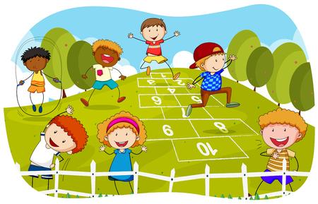 公園の図に石蹴りを遊んでいる子供たち