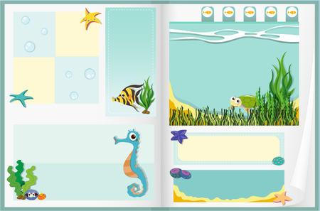 underwater scene: Paper design with underwater scene illustration Illustration