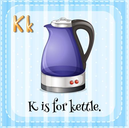 letter k: Flashcard letter K is for kettle illustration