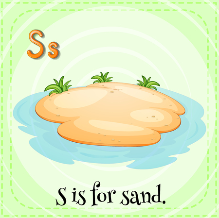 water s: Flashcard alphabet S is for sand illustration