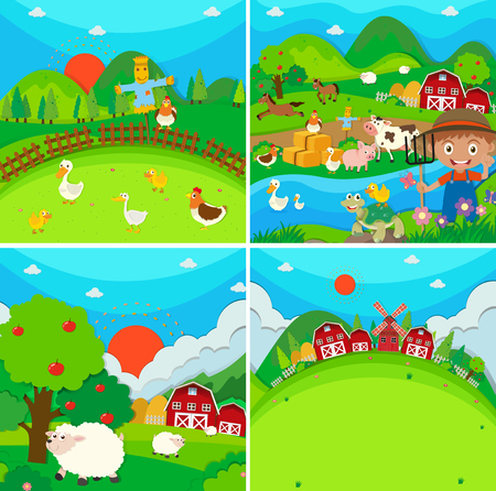 farm animals: Countryside scene with farmer and animals illustration Illustration