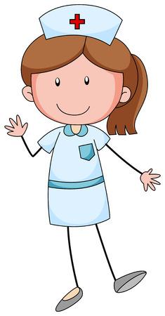 pielęgniarki: Kobieta pielęgniarki z happy twarzy ilustracji