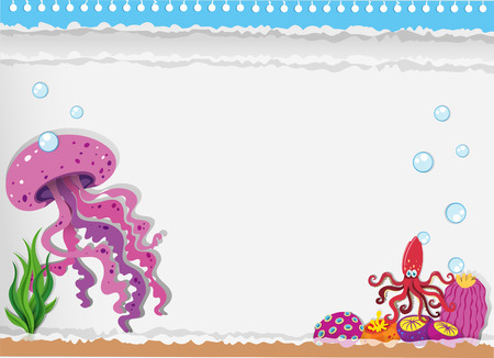 Paper design with jellyfish underwater illustration