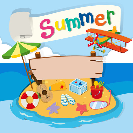 summer holiday: Summer theme with objects on the beach illustration