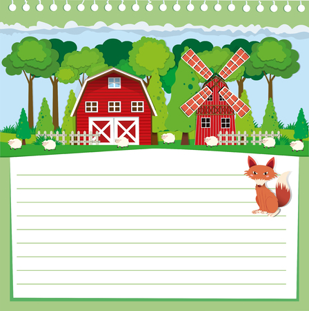 farmland: Paper design with fox and farmland illustration