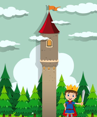role play: Prince and castle tower illustration Illustration