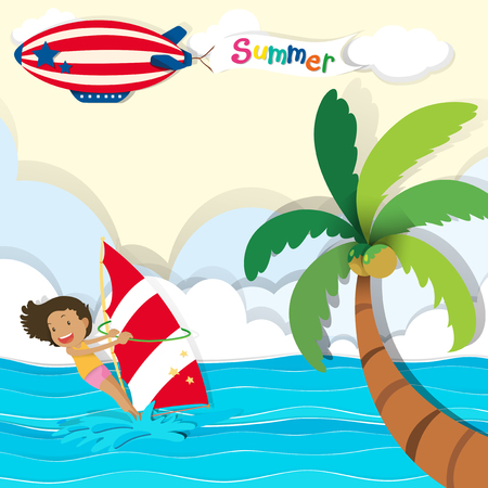 girl illustration: Woman surfing in the ocean illustration Illustration