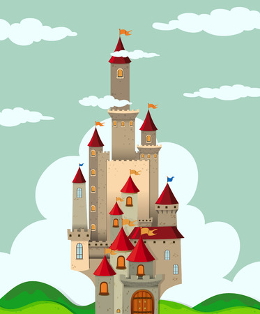 fairytale castle: Castle with tall towers illustration