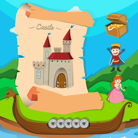 Fairytale theme with castle and characters illustration Illustration