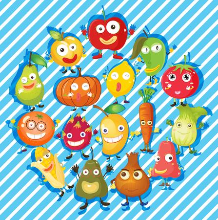 calories: Many kind of fruits and vegetables illustration Illustration