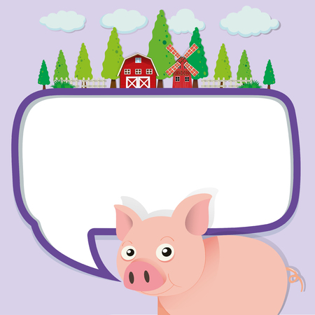 barns: Border design with pig on the farm illustration