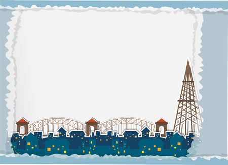 perspectiva ciudad: Paper design with city view at night illustration