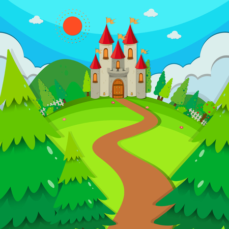 sunny: Castle towers at daytime illustration