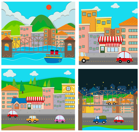 rural area: Four scenes of the city illustration