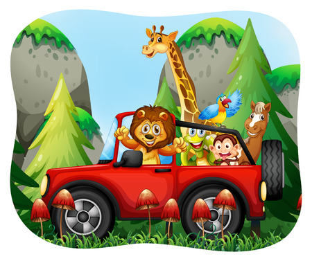 exotic car: Wild animals riding on jeep illustration
