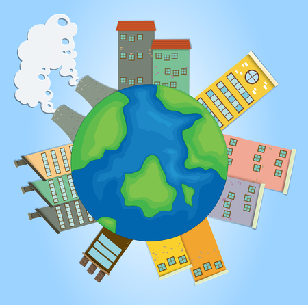 greenhouse effect: Earth with buildings and factories illustration