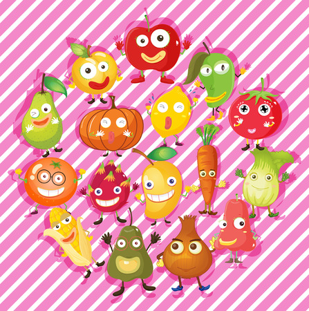 fruit du dragon: Different kind of fruits and vegetables illustration Illustration