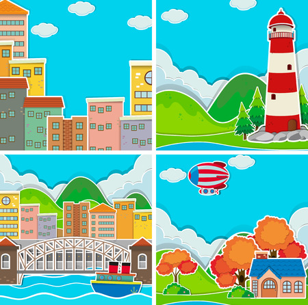 rural area: Scenes from city and rural area illustration Illustration