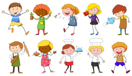 child drawing: People doing different activities illustration
