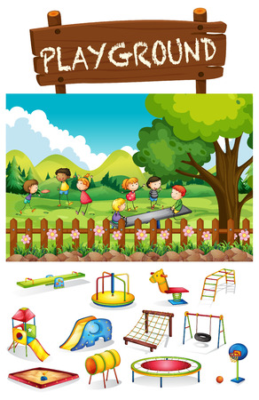 trampoline: Playground scene with children and toys illustration Illustration