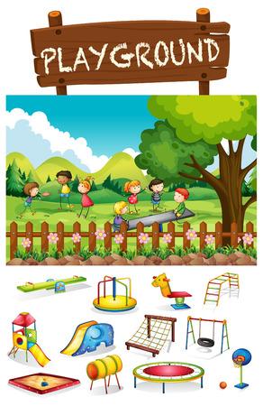 playground basketball: Playground scene with children and toys illustration Illustration